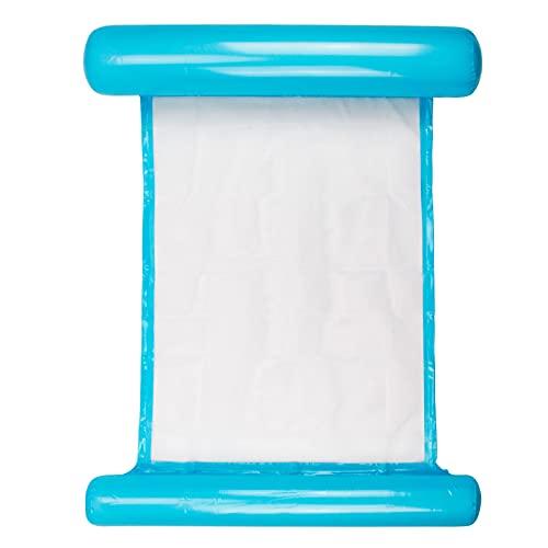 Migimi Aufblasbare Wasserhängematte, Aufblasbare Schwimmbett Schwimmende Wasser Bett Liege Matte Faltbare Recliner Pool Lounge Wasser Hängematte mit Luftpumpe für Erwachsene und Kinder, Blau