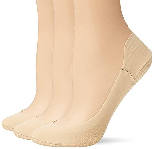 Hue Women's Hidden Cotton Perfect Edge Liner Sock with Gel Tab Sockshosiery, -cream, One Size
