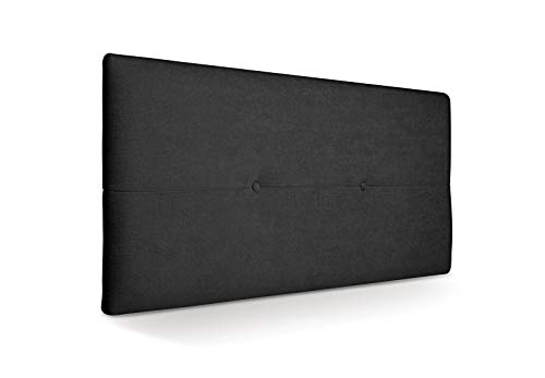 SUENOSZZZ - Cabecero de Madera Jazmin, tapizado Acolchado, en Tela Rio21 Color Negro Cabeceros Madera para Dormitorio | Cama Matrimonio | Cama Juvenil | Camas de 105 cm, 90 cm, 80 cm
