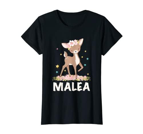Letra de nombre de niña leonado Malea Camiseta