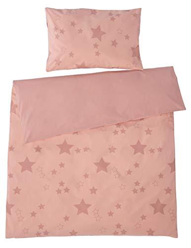 Bio Kinderbettwäsche 100% Bio-Baumwolle (kbA) GOTS zertifiziert, Sterne Rosa, 100 x 135 cm / 40 x 60 cm, Perkal-Stoff