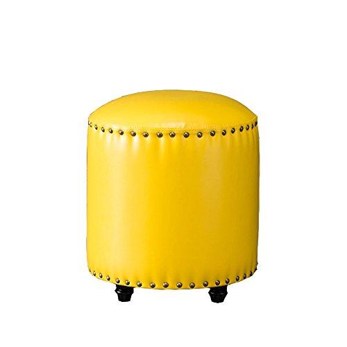 Tabouret de canapé de style européen, bois massif pour tabouret de chaussure, portant un tabouret de chaussure, petit tabouret, tabouret en cuir artificiel, jetée ronde, repose-pieds de salon ( Couleur : Le jaune )