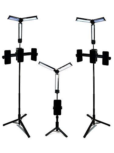 Fabulight Influencer - Kit de luz LED para selfies con soporte triple para teléfono