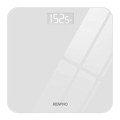 RENPHO Digital Bathroom Scale Highly Accurate Body Weight Scale with Round Corner Design Lighted LED Display 400 lb White