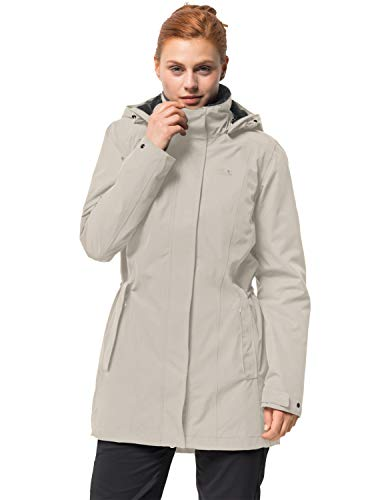 Jack Wolfskin Damen Madison Avenue Coat Mantel, Dusty Grey, M