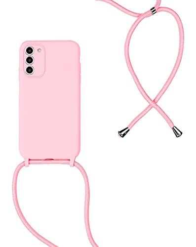 Cover per Samsung Galaxy S21+ / S21 Plus 5G, Corda Custodia in Silicone con Regolabile Cordino, Silicone Case Cordini Custodia Cellulare da Collo, Rosa
