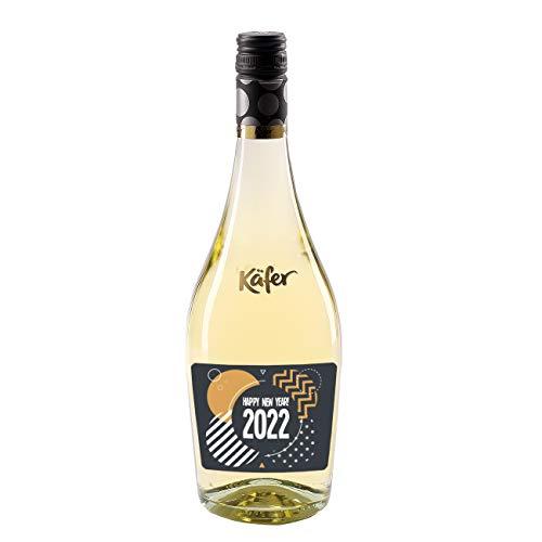 Herz & Heim® Feinkost Käfer Secco Bianco Frizzante in einer formschönen Flasche mit personalisiertem Etikett (weiß trocken) 750 ml Silvester