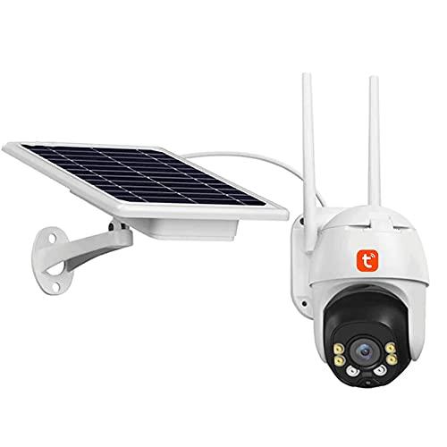 HLSH Tuya WiFi IP Cámara, Cámara De Video De Seguridad De PTZ De Seguridad Automático De PTZ, 3MP Visión Nocturna CCTV Vigilancia (Batería Incluida),(Size:Camera+32g)