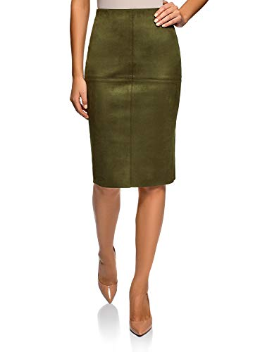 oodji Ultra Women's Faux Suede Pencil Skirt with Raw Hem, Green, 8