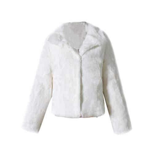 YuanDian Donna Autunno Inverno Casual Tinta Unita Corto Risvolto Pelliccia Sintetica Giubbotto Morbido Caldo Elegante Ecologica Finta Pellicce Ecopelliccia Cappotti Giacche Bianco XL