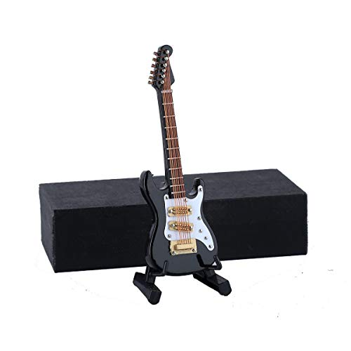 Dselvgvu Wooden Miniature Electric Guitar with Stand and Case Mini Musical Instrument...