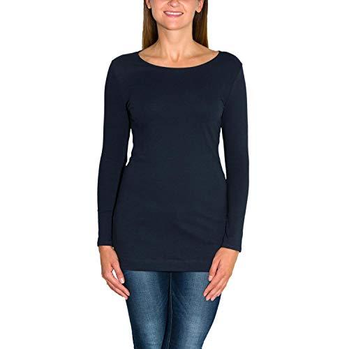 Alkato Damen Langarm Longshirt Tunika Basic Shirt, Farbe: Dunkelblau, Größe: M