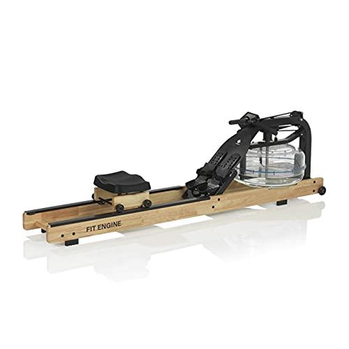 FitEngine Wasser-Rudergerät   Ergonomischer Rudersitz für Deine korrekte Haltung   Realistisches Rudergefühl durch regulierbaren Wasserwiderstand   Leistungsmonitor [Helles Holz]