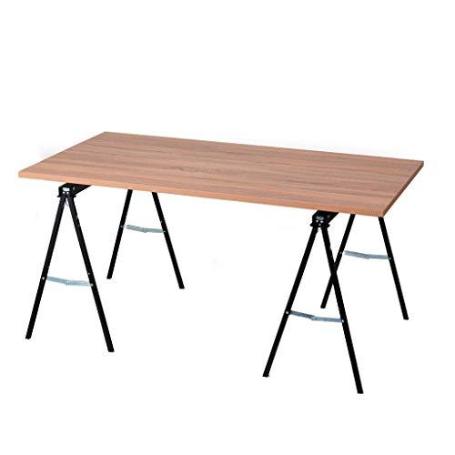W150 - Mesa expositora de fácil montaje, marco negro, parte superior rústica