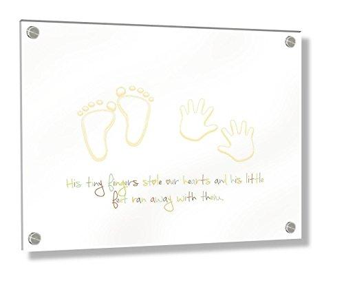 Feel Good Art Mural Cadre en acrylique 3D avec boulons Confrontation (20 x 30 x 0,6 cm, petit, multicolore, ses petits pieds Stole nos cœurs)