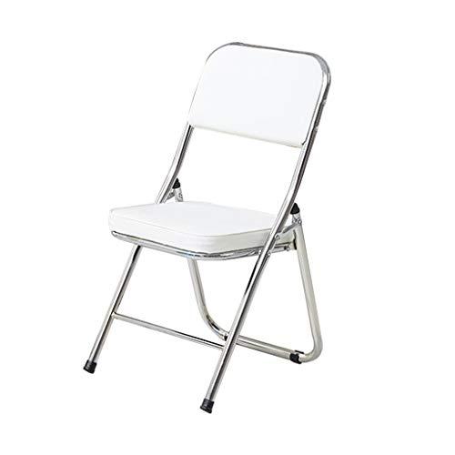 LiRuiPengBJ Sillas Plegables 2 Piezas Silla Plegable, Silla de Cuero Que Acampa, Ahorra Espacio Silla de Computadora para el Hogar, Comedor, Oficina Folding Chairs (Color : White)