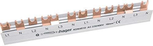 Hager Phasenschiene KDN451D 4P, 16qmm, 12Mod, Gabel Phasenschiene 3250613741082