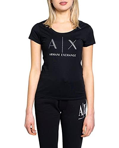 Armani Exchange Strass Logo Camiseta, Negro (Black 1200), X-Small para Mujer
