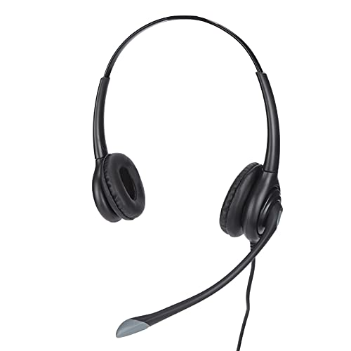 Auriculares de centro de llamadas con micrófono con cancelación de ruido, auriculares de teléfono RJ9 ajustables, micrófono de brazo flexible, para servicio de atención al cliente de centros de llamad