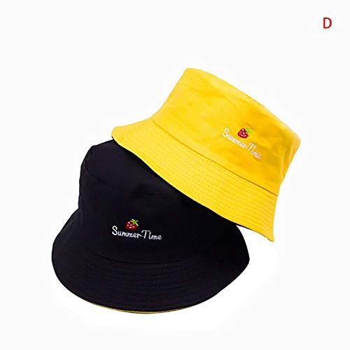 Sombrero de Cubo de Moda Unisex Sombrero de Cubo Reversible de Dos Lados Sombrero de Playa Amarillo para Hombre Gorras de Verano-D