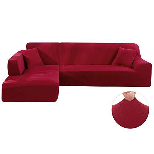Dightyoho Funda de sofá elástica Chaise Longue Ajustable en poliéster en Forma de L se compone de 2 Piezas con 2 Fundas de cojin (3 plazas+ 2 plazas, Vino)