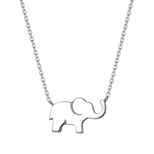 FANCIME White Gold Plated Solid Real 925 Sterling Silver High Polished Cute Mini Small Lucky Elephant Dainty Pendant Necklace For Women Girls Teens Friend Friendship Little Charm Gift, 16' + 2' Extender