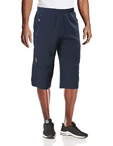MAGCOMSEN Gym Shorts for Men Big and Tall Capri Pants 3/4 Pants Long Shorts Hiking Pants Mens Camping Shorts Sweatpants for Men Workout Shorts Men Navy