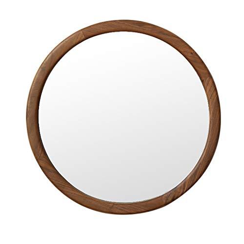 Home Décor Espejo Redondo de Nogal, Espejo Colgante de Entrada, Espejo de tocador de 19,6 Pulgadas para baño, Sala de Estar y Dormitorio, decoración del hogar, Marco de Madera Maciza