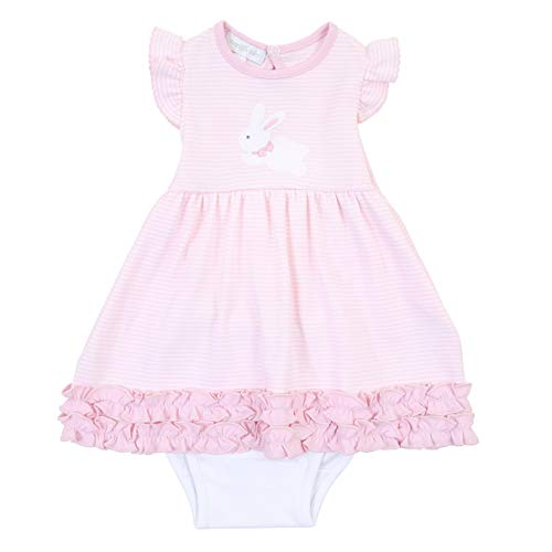 Magnolia Baby Baby Girl Little Bunny Applique Ruffle Dress Set Pink Newborn