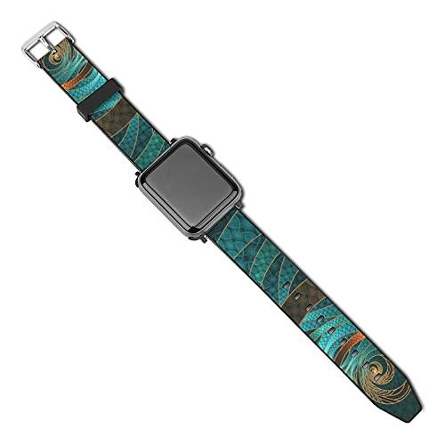 Compatible con Apple Watch Band 38 mm 40 mm, hermosos brazaletes de cuero turquesa fractal de silicona suave correa de repuesto compatible con iWatch Series 5 4 3 2 1