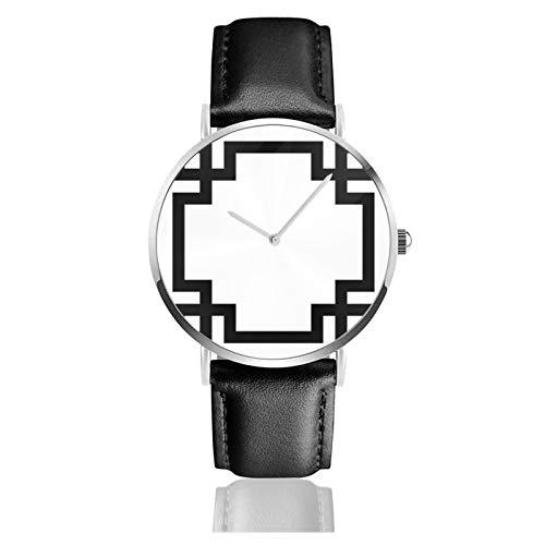 Reloj de pulsera de cuarzo, negro y blanco, con borde griego