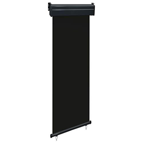 pedkit Balkon-Seitenmarkise 60 × 250 cm Schwarz UV-beständig und Wasserbeständig Senkrechtmarkisen Sonnenschutz Sichtschutz Windschutz Markise Außenrollo