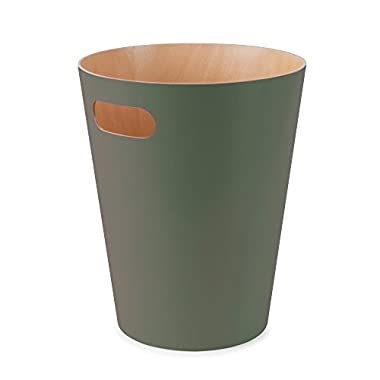 Umbra Woodrow Garbage Duo-Tone Wood Trash Can for Office, Study, Bathroom, Living Powder Room and More, 2 Gallon/9 L, Spruce