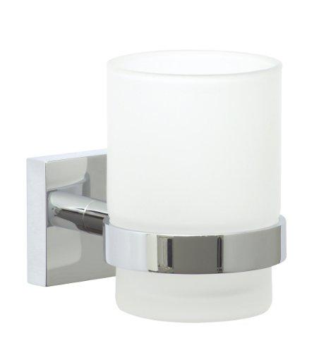Nie Wieder Bohren ekkro Zahnbürstenhalter, verchromt, satiniertes Glas, inkl. Klebelösung, hohe Haltekraft (bis 6kg), 95mm x 67mm x 110mm