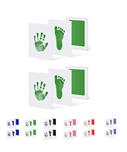 UAMITA 2 Tamponi per 4 Impronte di Mani e Piedi di Neonati da 0 a 6 mesi. L'impronta viene impressa senza alcun contatto tra il bambino e l'inchiostro. (Green)