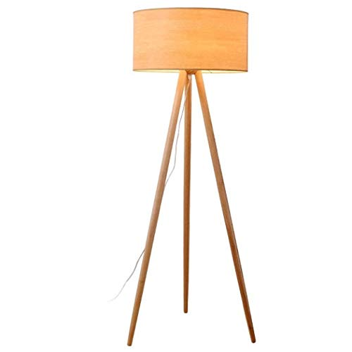 Tripod Floor Lamp Modern Wooden Floor Lights Cloth Shade Reading Standing Light for Living Room Bedroom Office, E27-1 Lights,110v,220v (Color : 1)