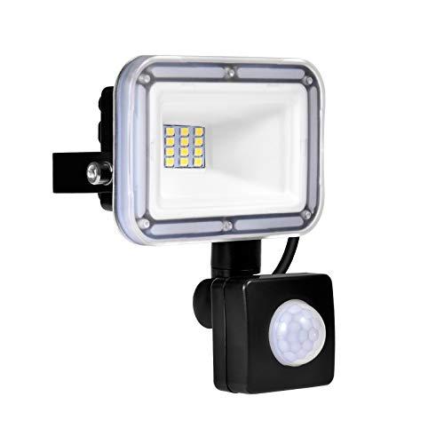 10W LED Strahler mit Bewegungsmelder, Wasserdicht IP67 LED Flutlicht Strahler 1000LM 6500K Kaltes Weiß Außen Scheinwerfer Außenbeleuchtung für Garten Garage Sportplatz [Energieklasse A ++]
