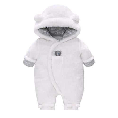 Runuo Mameluco de bebé recién Nacido,Mono con Capucha de vellón para niños Traje de Nieve para niños pequeños Mono de Onesies