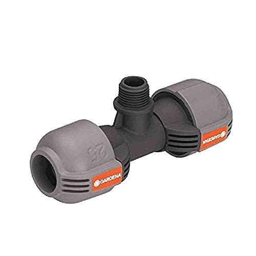 Gardena Quick&Easy 2786-20 - Unión de T del sistema de aspersión para rosca macho: pieza de conexión para conectar el aspersor emergente en el tubo, 25mm y rosca macho 1/2', técnica de conexión