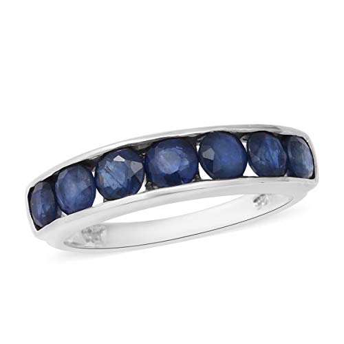 TJC Half Eternity Blue Sapphire Ring for Women 925 Sterling Silver Size M, 2.63 Ct