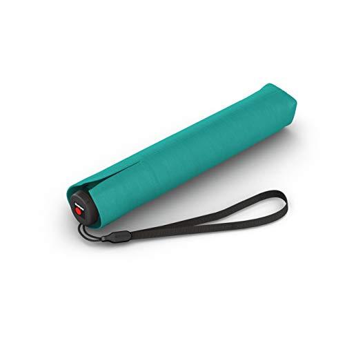Knirps Taschenschirm Ultra I.030 Slim Manual - Leichtester Knirps mit nur 115 g - Exklusives Griff-Design - Sturmfest - 21 cm - Aqua