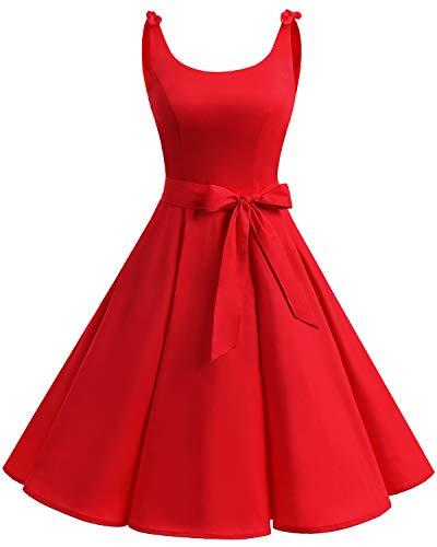 Bbonlinedress 1950er Vintage Polka Dots Pinup Retro Rockabilly Kleid Cocktailkleider Red L