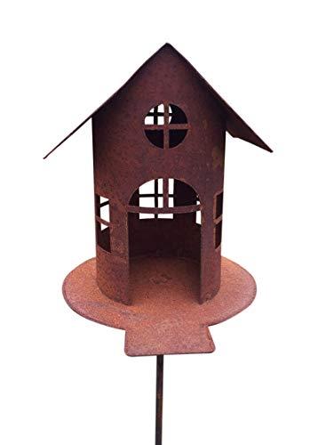 VOGELHAUS MIT Steg Futterhaus ZUM BELEUCHTEN H21cm + Stab Gartenstecker Edelrost Metall + Original Pflegeanleitung von Steinfigurenwelt