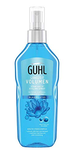 Guhl Langzeit Volumen Föhn-Aktiv Styling Spray - mit blauem Lotus - 48h-Halt - kraftvolles Volumen - für feines, kraftloses Haar, 150 ml