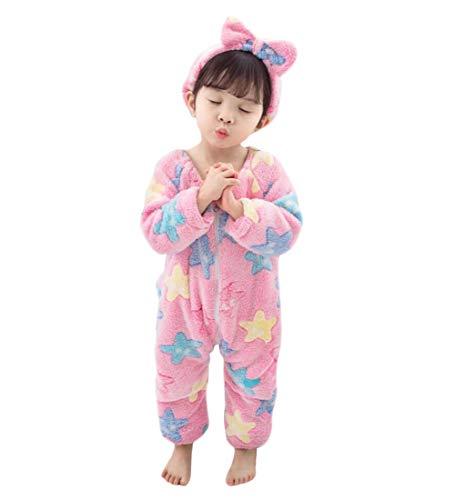 DEBAIJIA Bebé Mameluco 1-8T Infantil Peleles Recién Nacido Monos Niños Camisones Niña Pijama Niño Ropa de Dormir Unisexo Franela (Rosado-130)