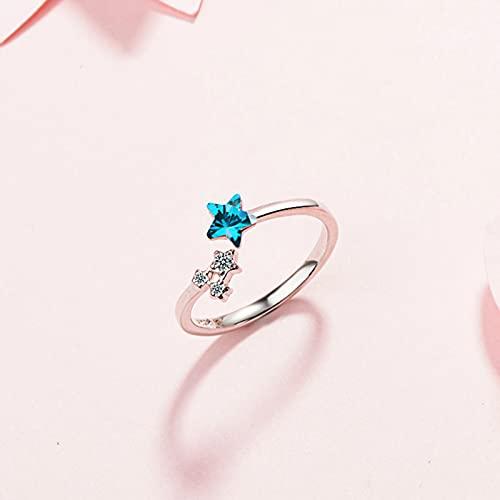 Gioielli Moda Donna in Argento Sterling 925 Anello con zirconi in Cristallo con Stella Blu Anello Aperto Regolabile