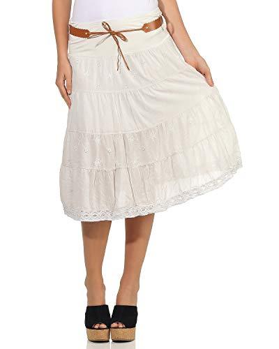 ZARMEXX Mujer Falda de Algodón Falda De Verano Decoración Largo hasta rodilla con Cinturón algodón - beige, 38,40,42
