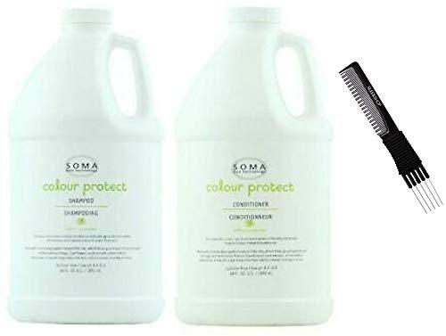 Soma Colour Protect Shampoo & Conditioner DUO SET (w/ Sleek Premium Carbon Teasing Comb) Protects Hair Color Cleanser + Condition (64 oz + 64 oz - XXL Half Gallon Kit)