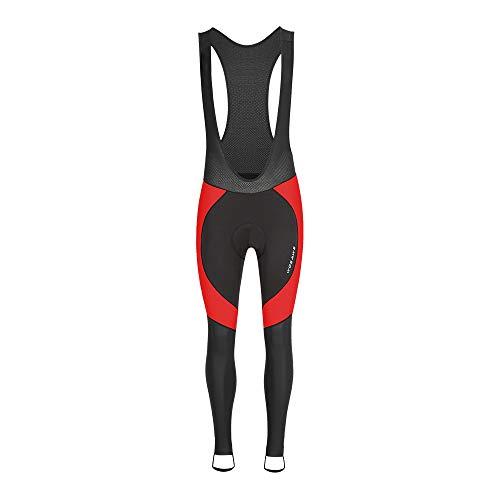 WOSAWE Hombres Ciclismo Pantalones Largos, Culote Térmico Bicicleta Legging con Tirantes y Badana Gel de Ciclistas (Negro con Rojo L)