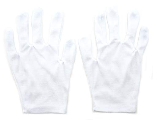 A HAND 12 accoppiamenti GL1 guanti bianchi Coin Gioielleria Argento ispezione Terylene Cotone Guanti medio-piccole elastico Light Weight